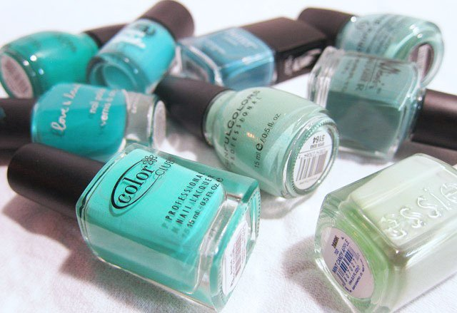 Spring Nails Mint, Turquoise, Teal