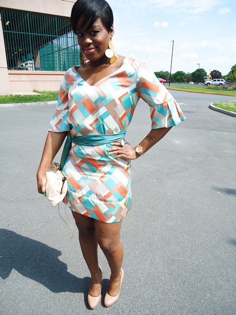 """Mint & Coral Geometric Print Dress"""
