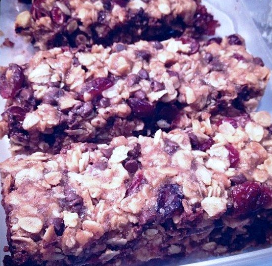 """Chocolate Cranberry Granola Bars"""