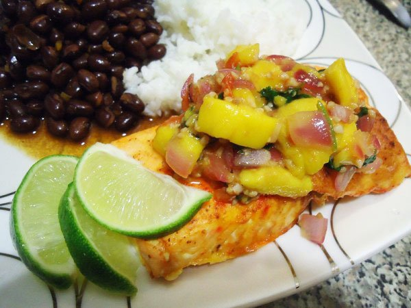 """Salmon with Mango Salsa Recipe"""
