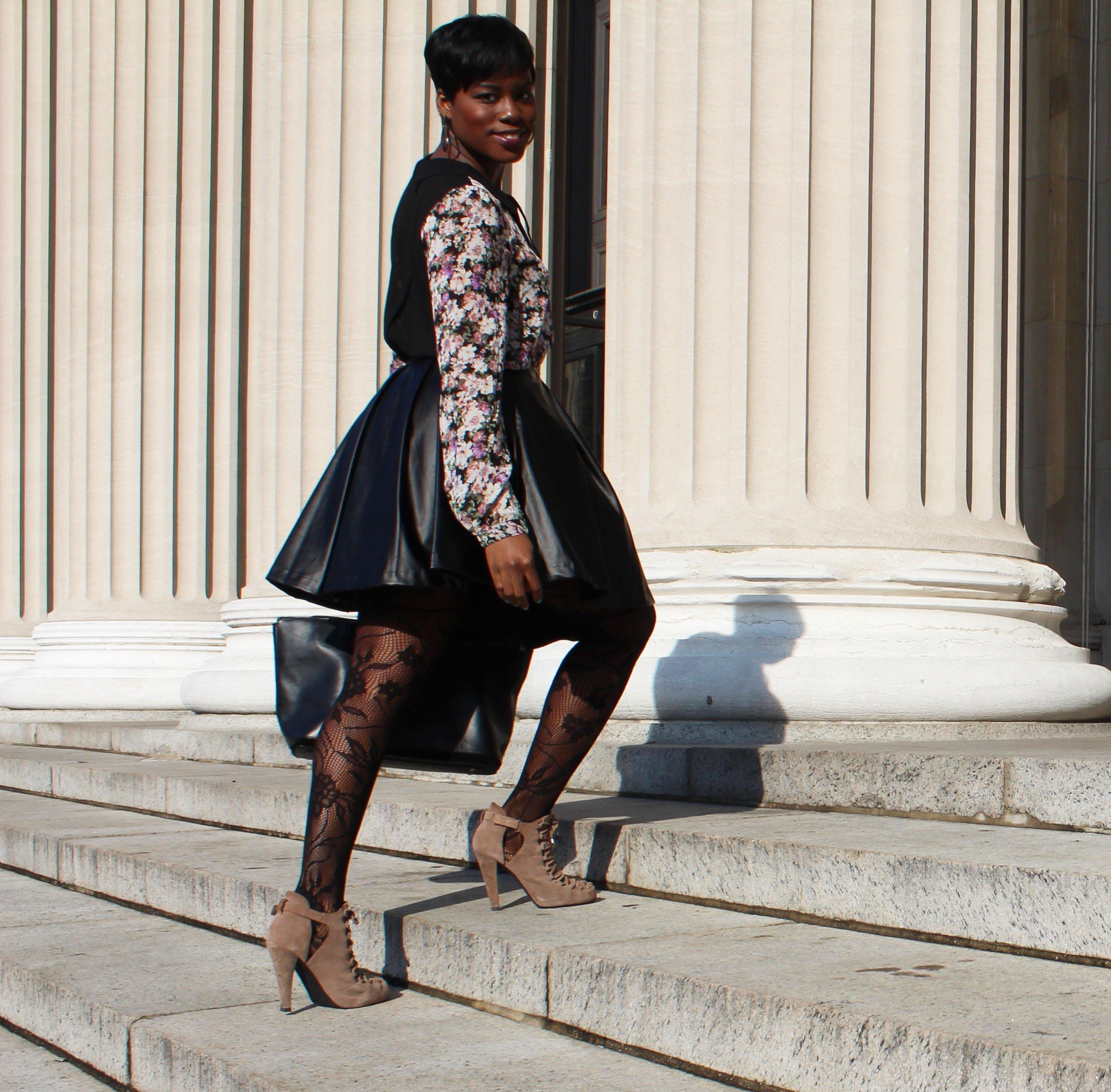 """Faux Leather Skater Skirt"""