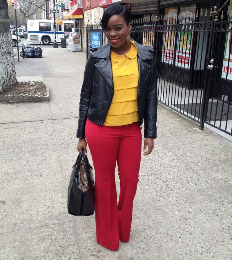 red wide leg pants