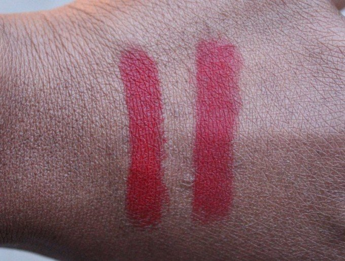 MAC RiRi Woo Lipstick compared to Ruby Woo