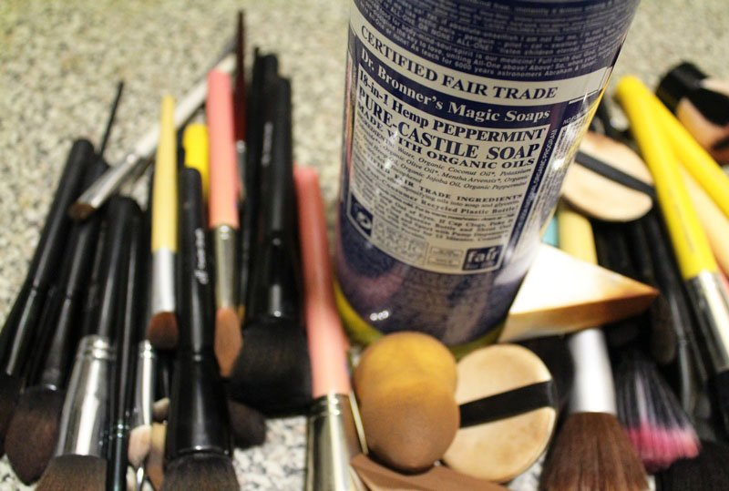 wash makeup brushes with Dr Bronner's Peppermint Castile Soap