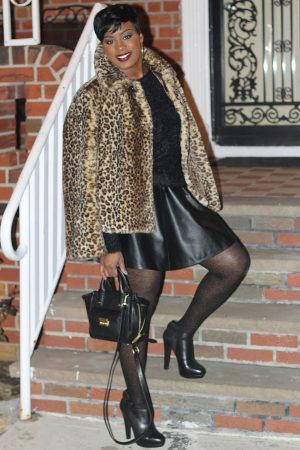 faux leather skater skirt and leopard faux fur