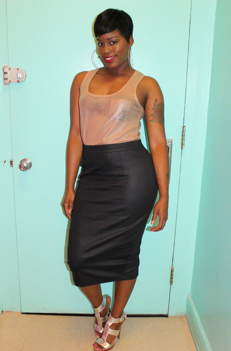 charcoal pencil skirt outfit