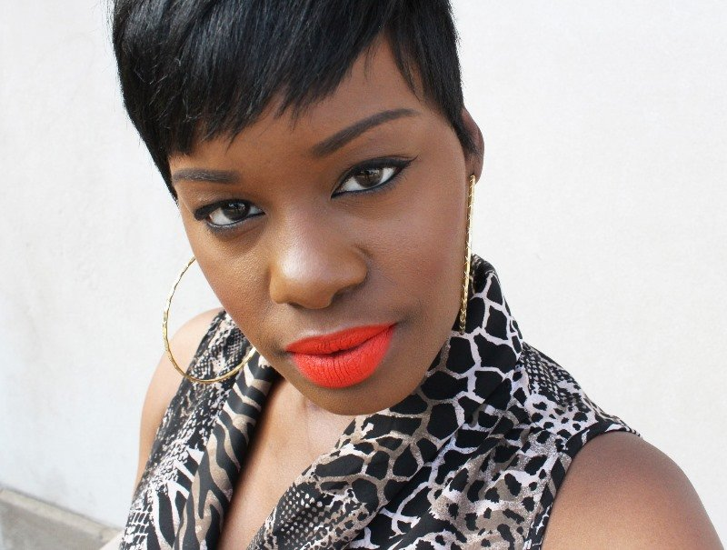 Black Up Cosmetics Lipstick in 34M dark skin