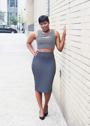 polka dot pencil skirt outfit