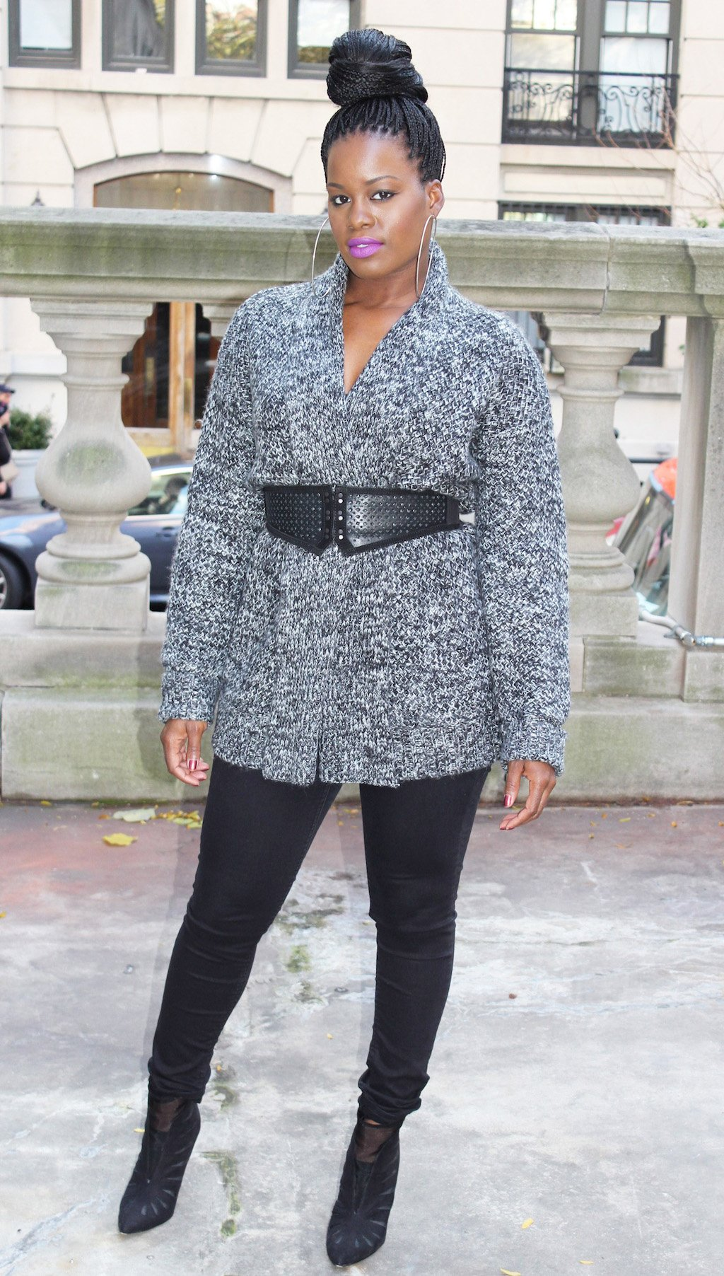 belted marled cardigan