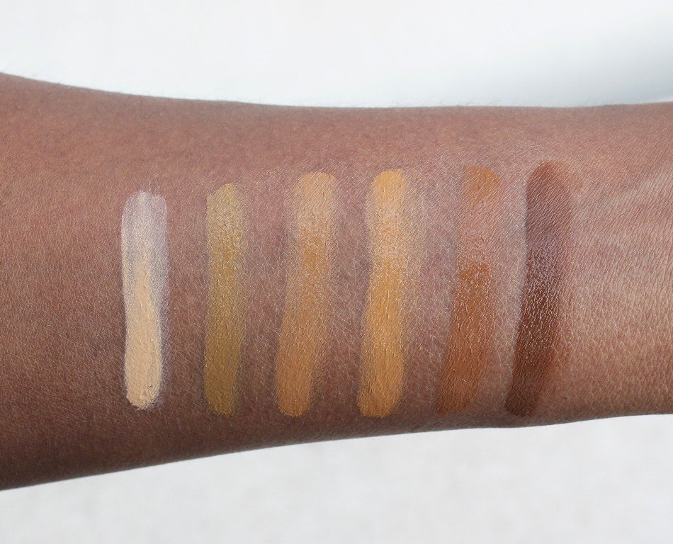 jordana complet cover 2-in-1 concealer and foundation swatches dark skin