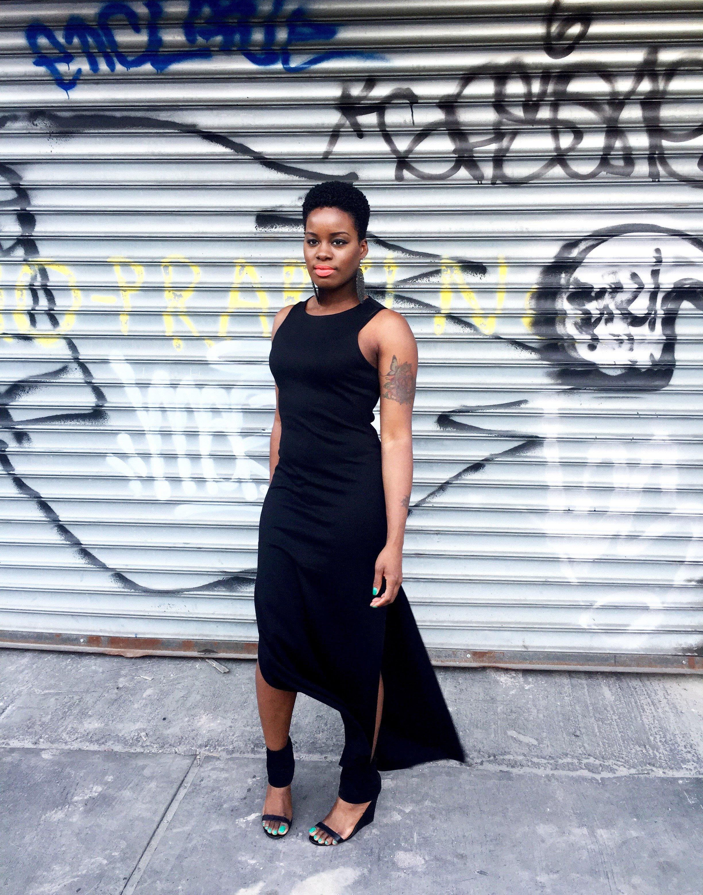 black split maxi dress