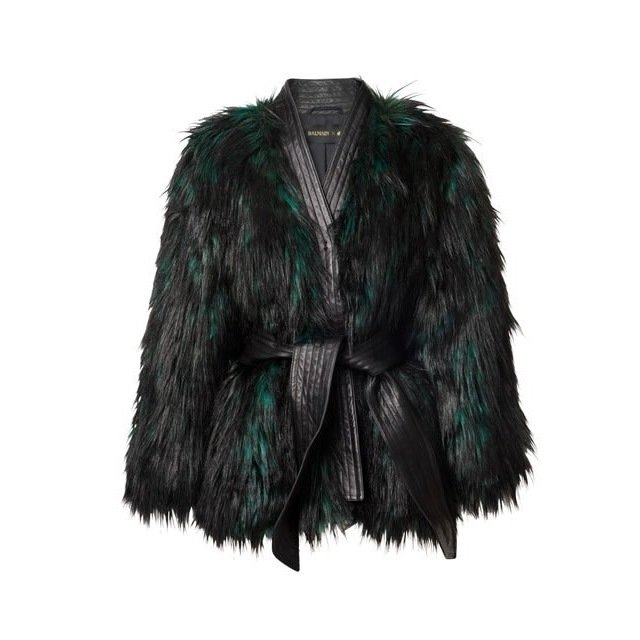H&M x Balmain Faux Fur Belted Coat $149