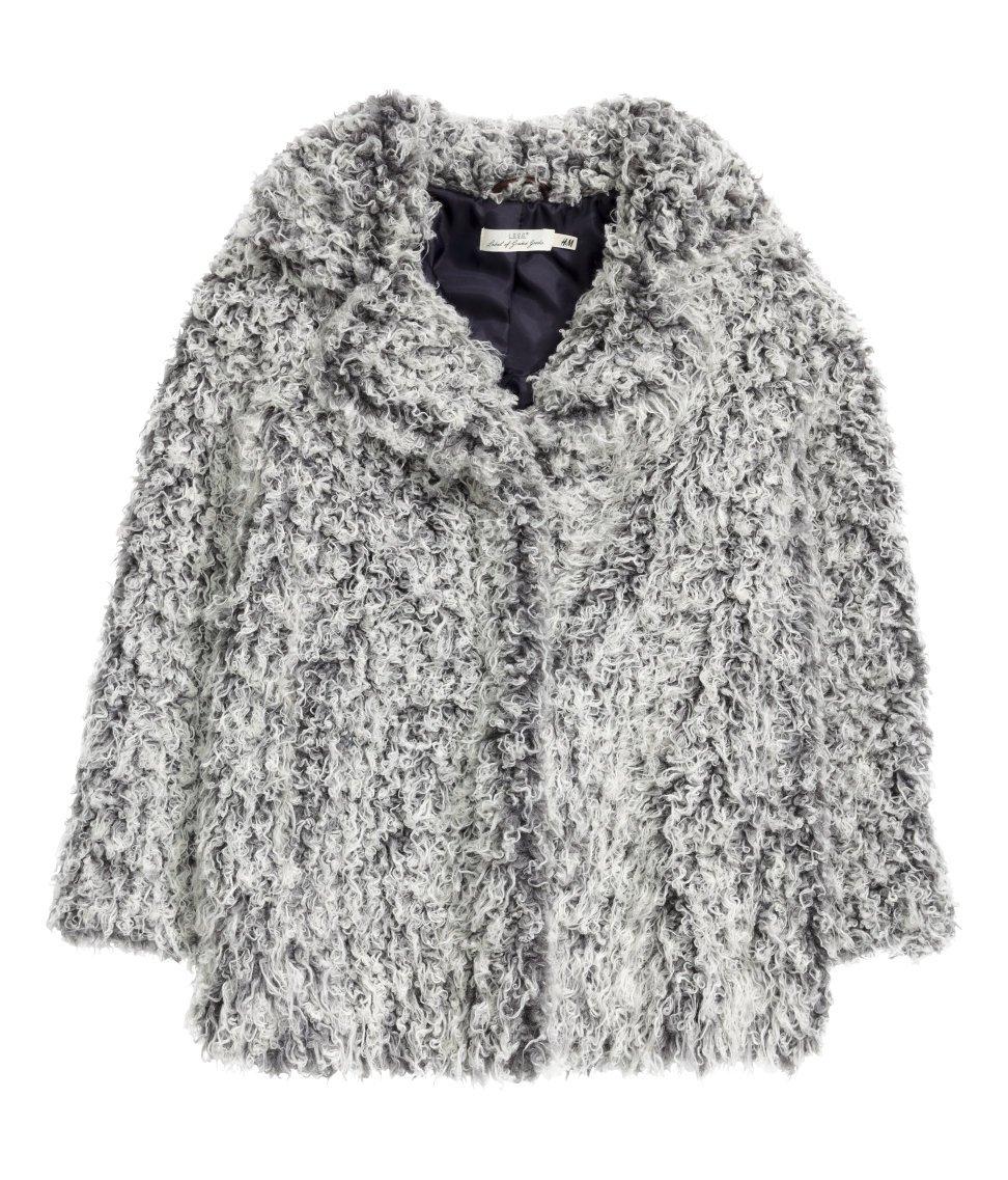 H&M Grey Faux Fur Coat