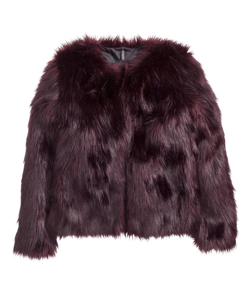 Plum Faux Fur Jacket Holiday