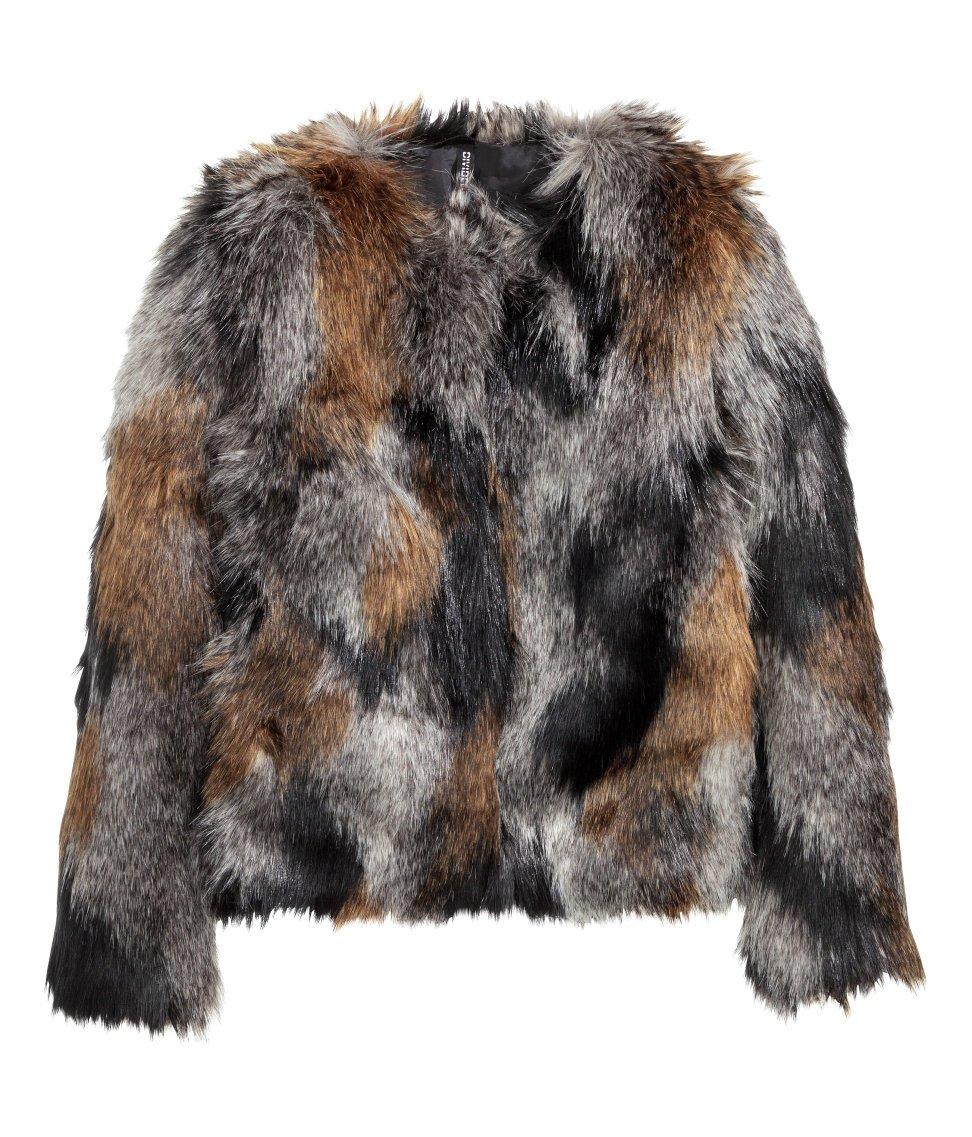 H&M Tri-Color Faux Fur Coat