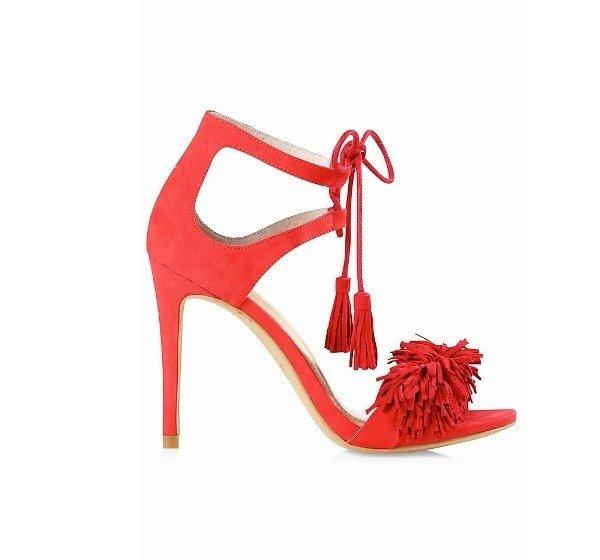 Express Red Fringe Fringe Sandals