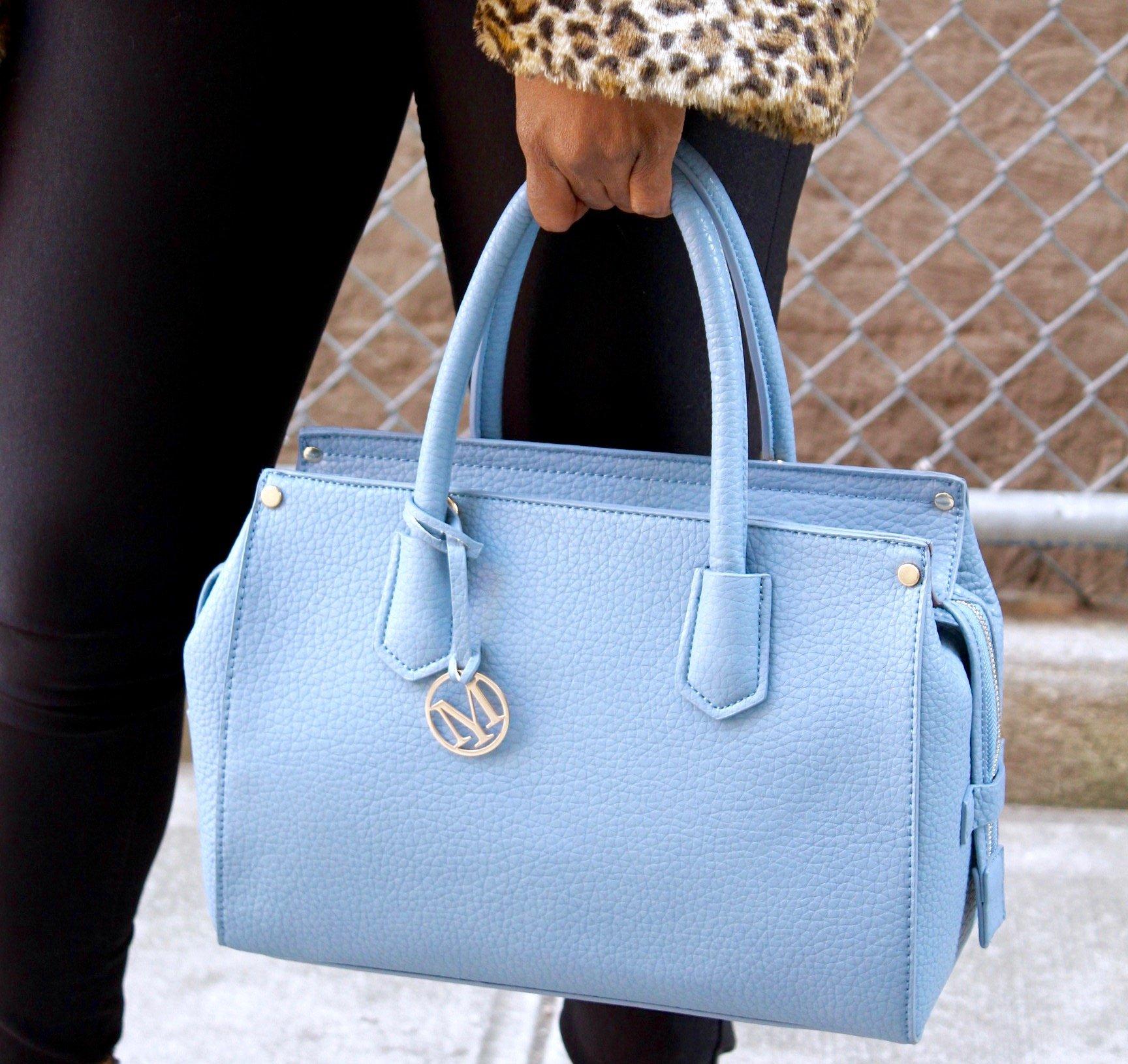 Mechaly Abby Blue Vegan Leather Satchel