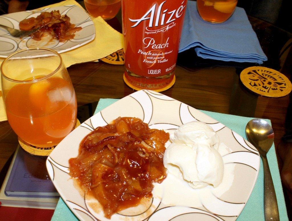 Alize Peach Bellinis and Peach Cobbler