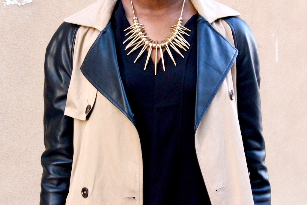 gold triangle statement necklace