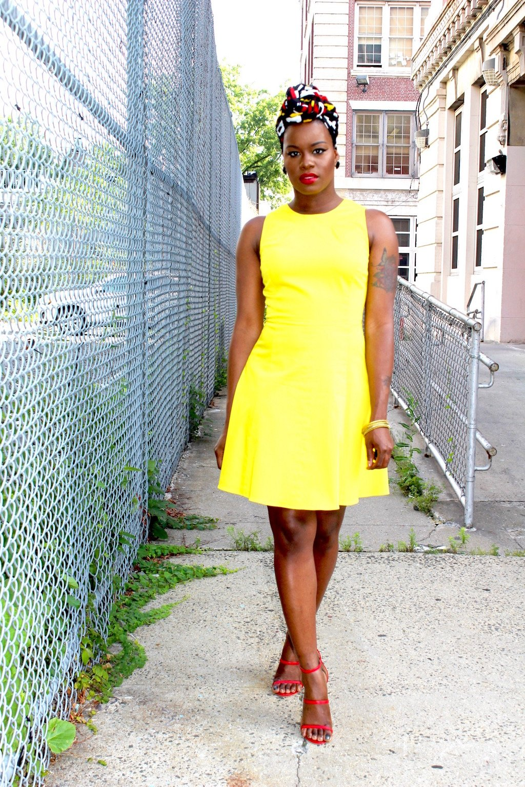 Yellow Skater Dress Outfit