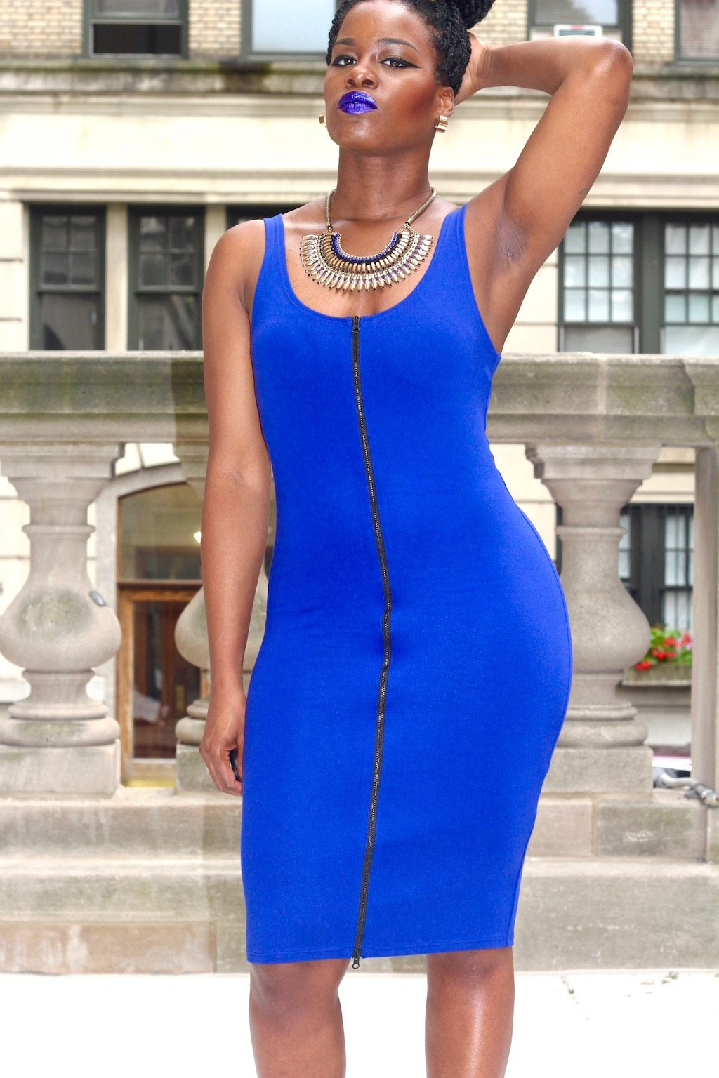Royal Blue Zippered Dress