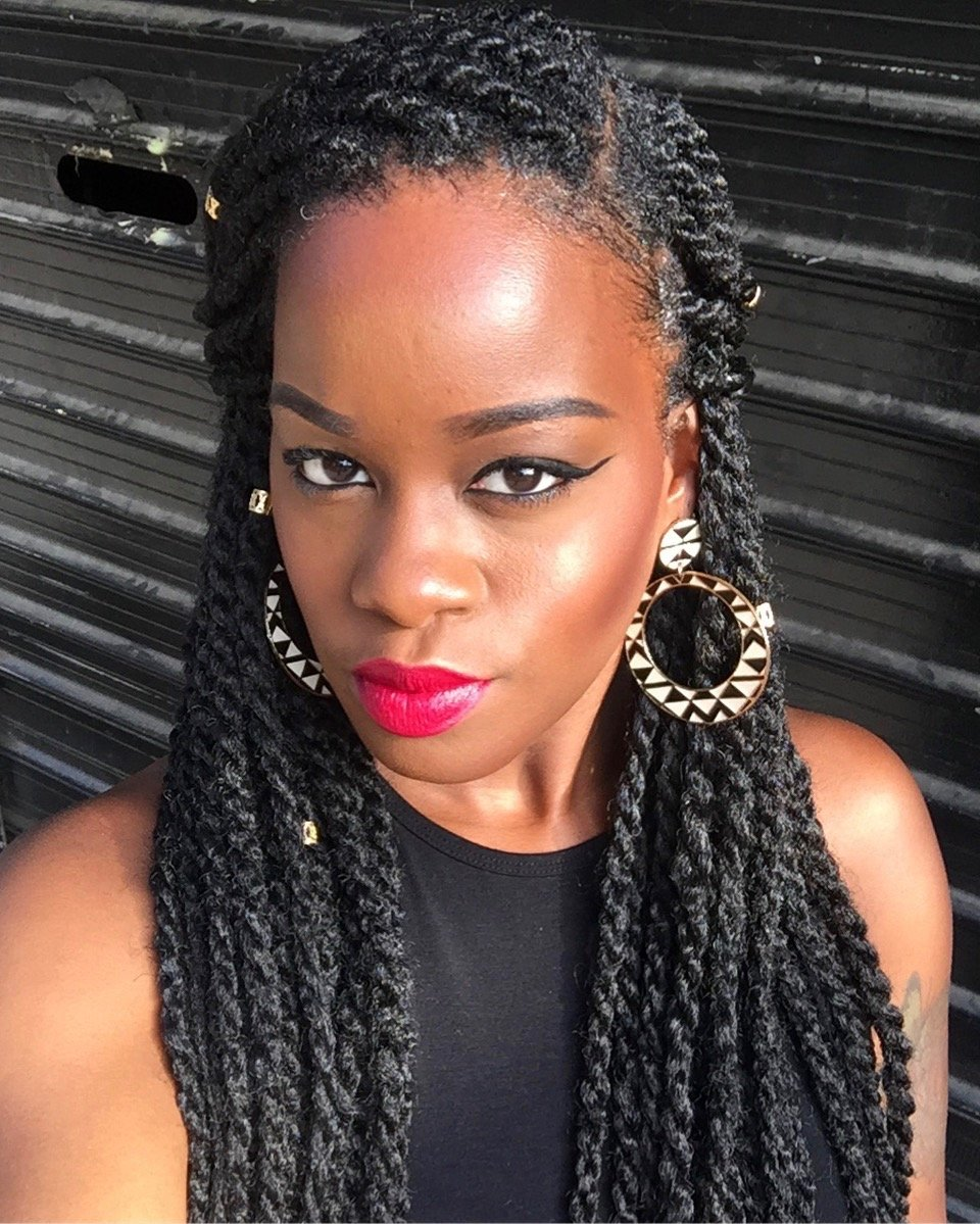 style marley twists sides pulled back