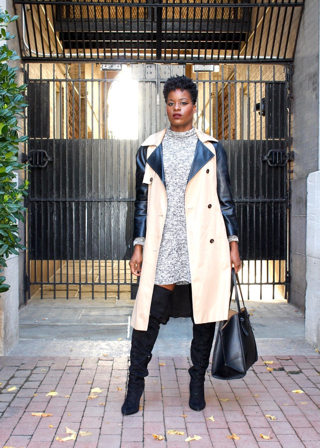 Leather Sleeve Trench Coat with OTK Boots