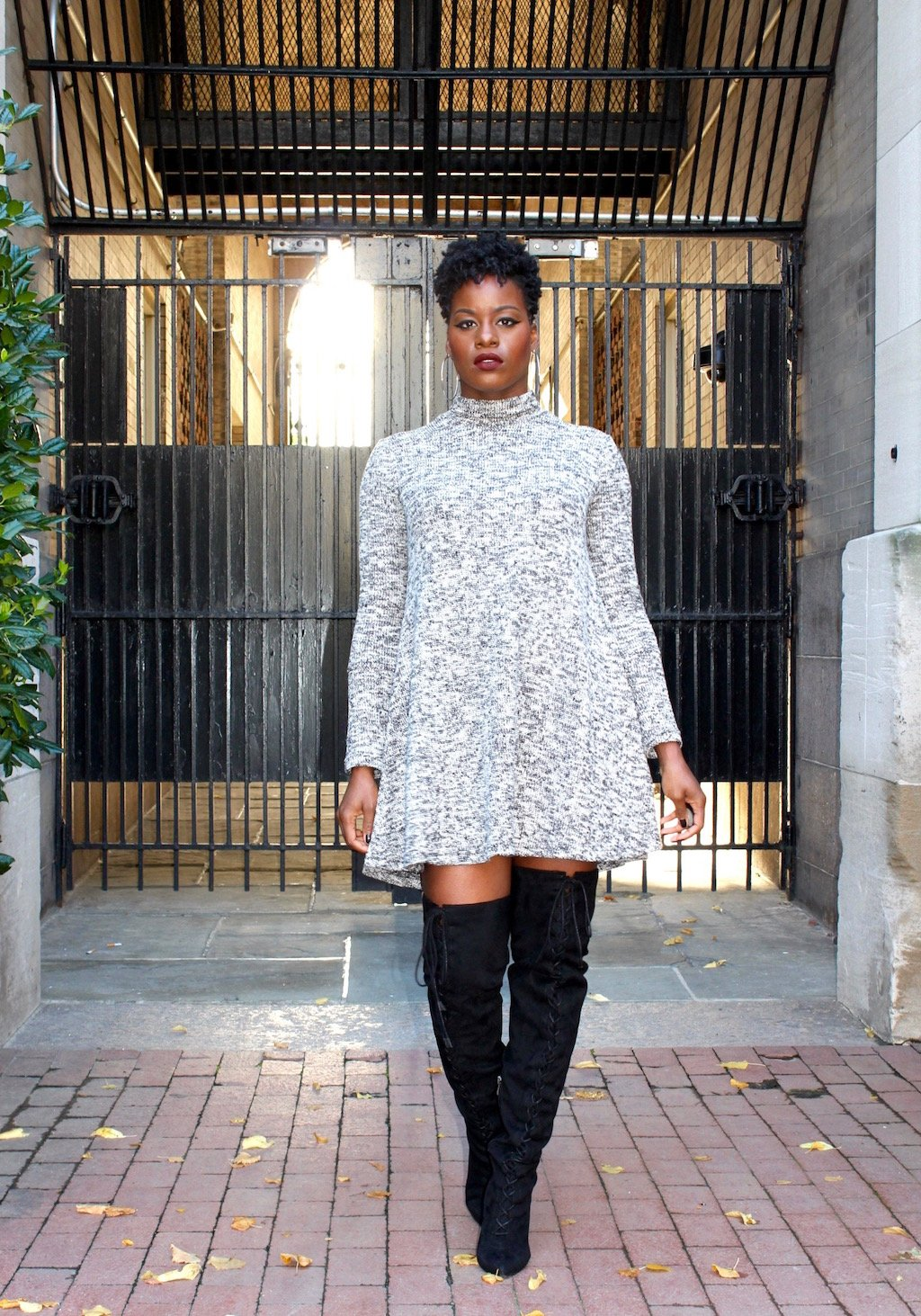 Marled Sweater Dress with OTK Boots