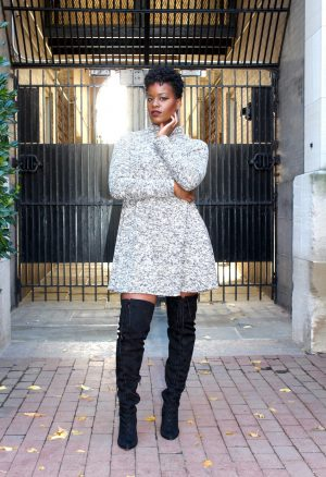 Swing dress with OTK Boots