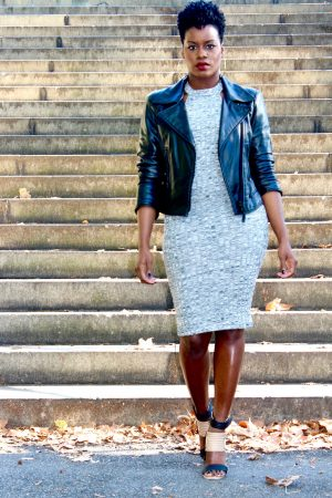 marled body con dress outfit