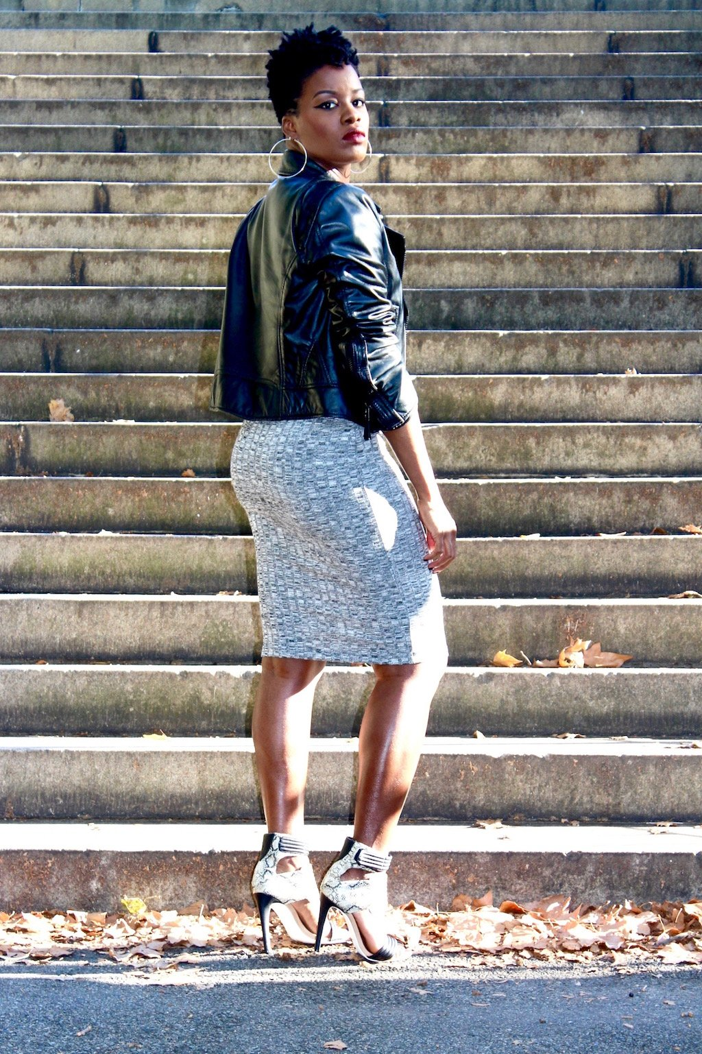 Leather Motor Jacket with Marled Bodycon Dress