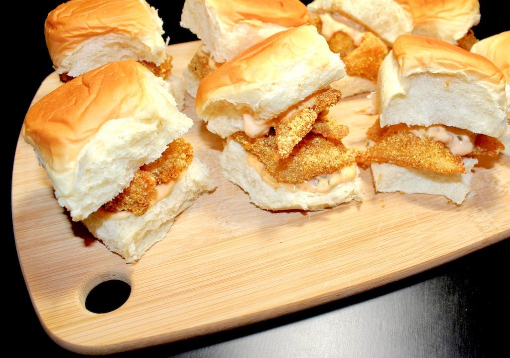 From my kitchen cornmeal cod sliders with homemade spicy for Cornmeal fried fish
