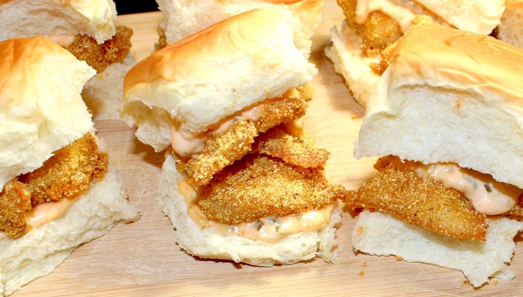 Cornmeal Cod Sliders with Spicy Tartar Sauce