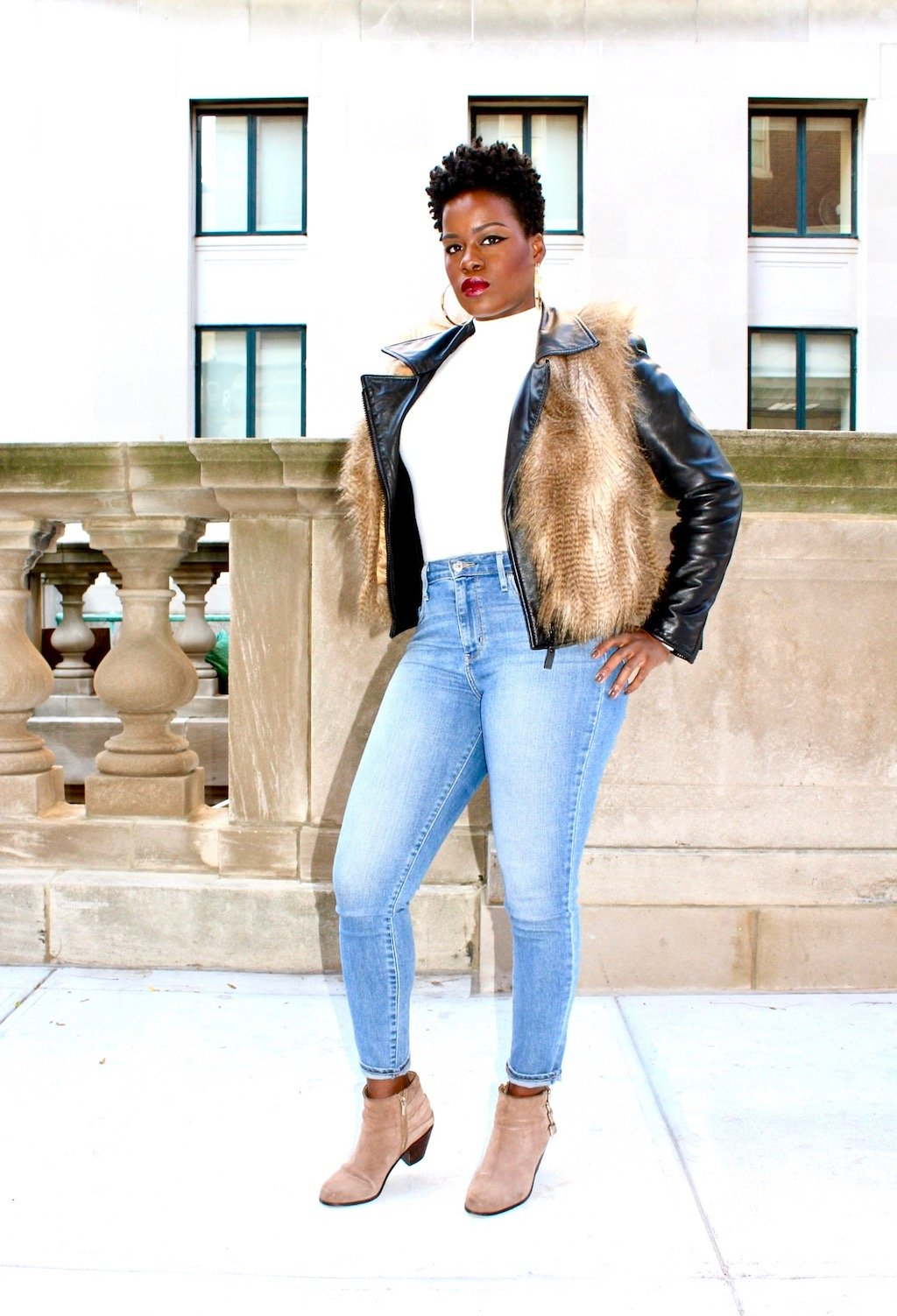 leather & faux fur outfit