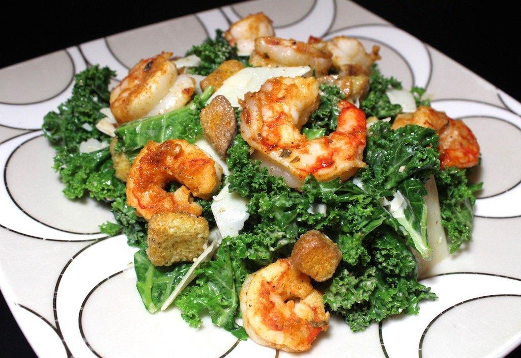 Spicy Shrimp Kale Caesar Salad