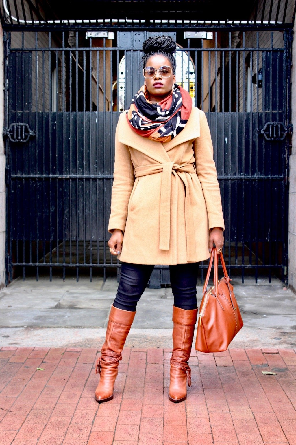 Camel Coat With Knee High Boots