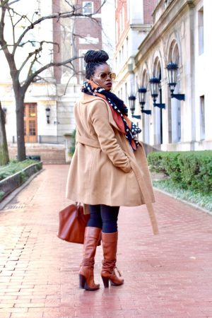 Camel Coat Graphic Print Scarf Outfit
