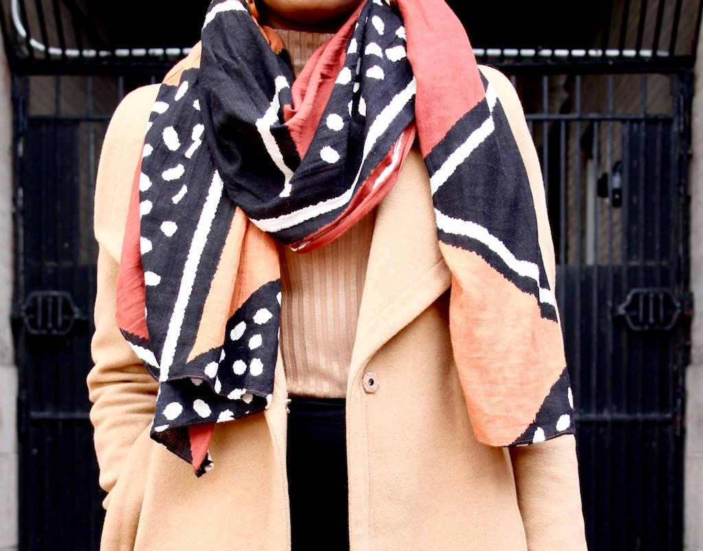 Graphic Print Scarf Outfit