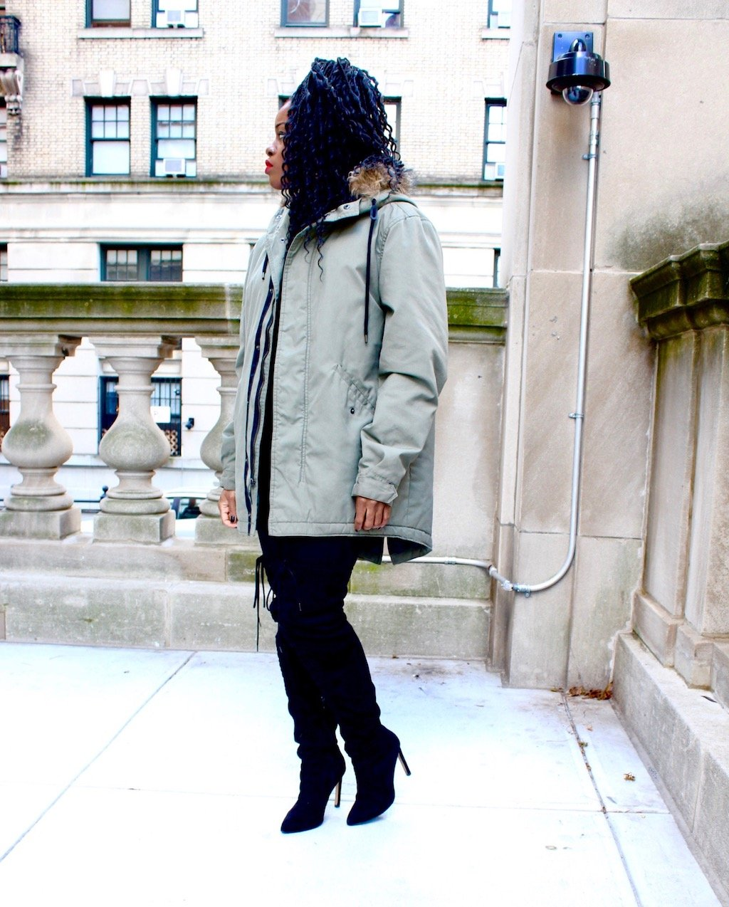 Oversized Military Parka and OTK Boots Outfit