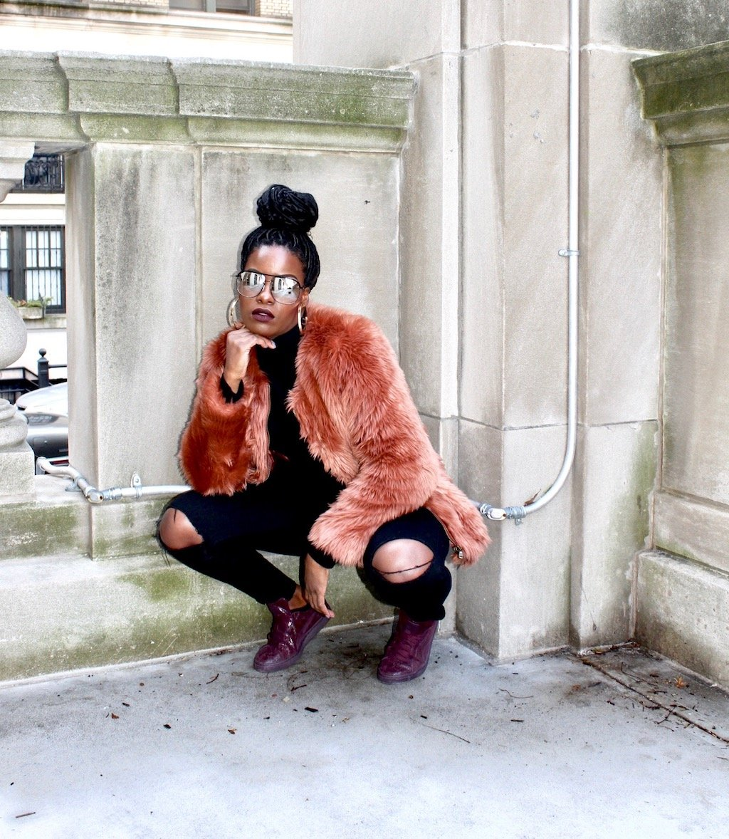 Puma Remaster & Pink Faux Fur Outfit