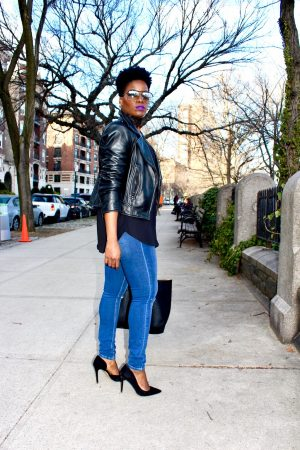 Moto Jacket and Pumps Outfit