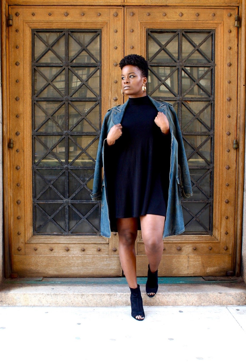 Little Black Dress and Denim Trench Coat Outfit