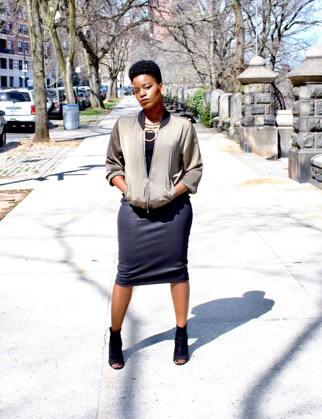 bomber jacket with pencil skirt outfit