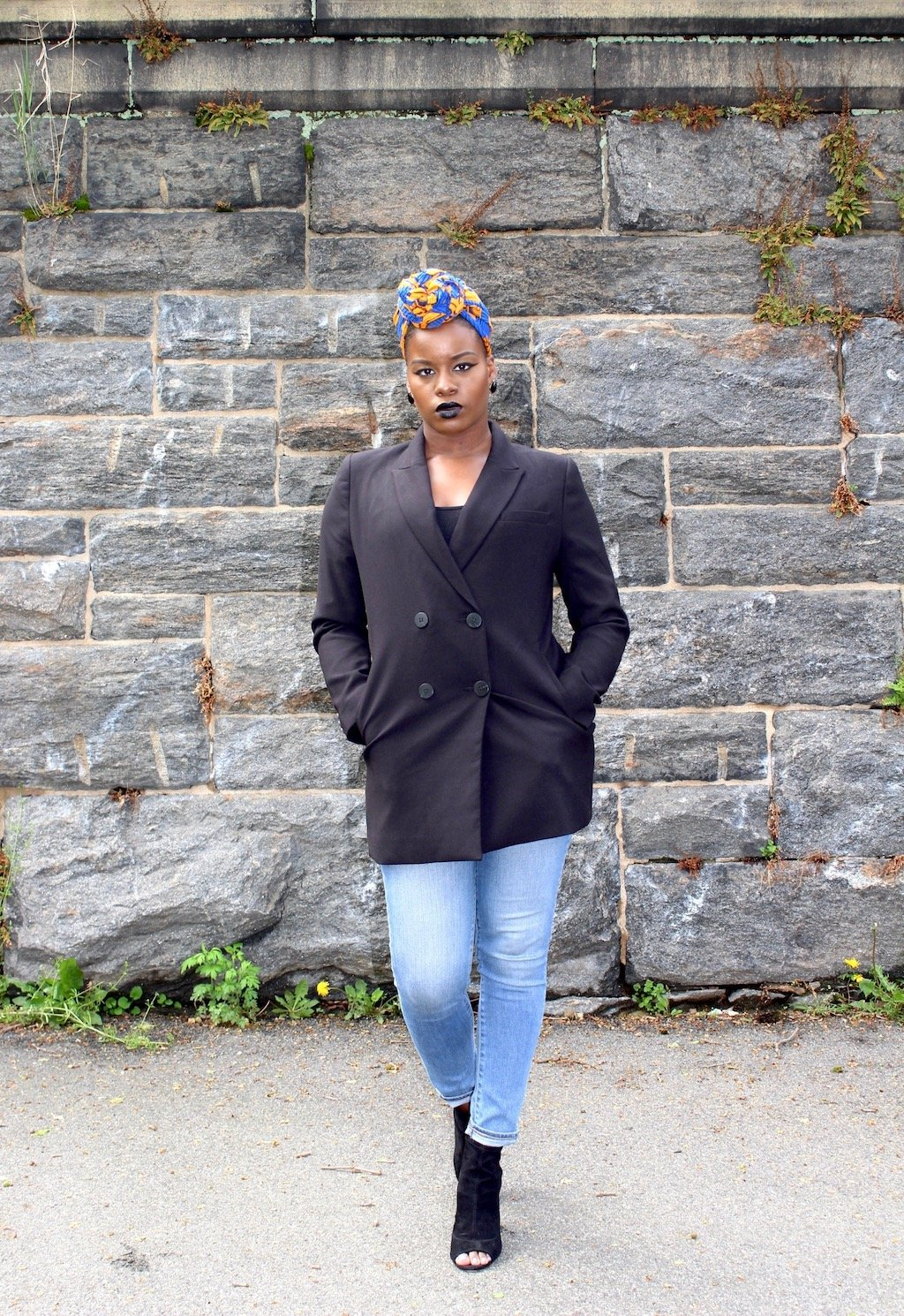 Double Breasted Blazer + Headwrap