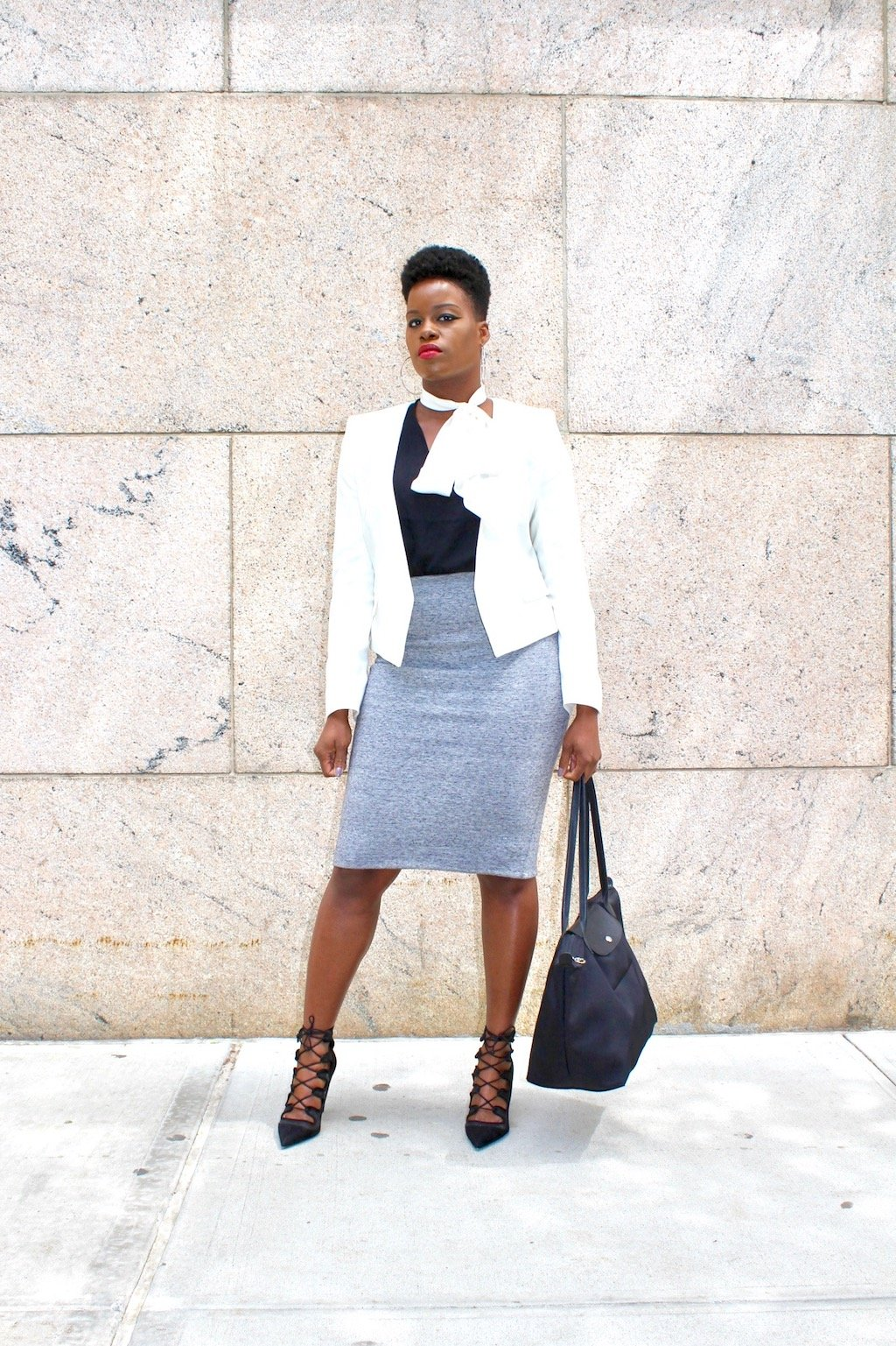 Skinny Scar with blazer and pencil skirt oufit