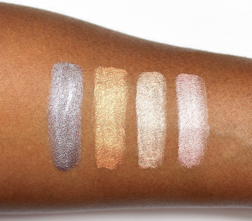 Make Up For Ever Aqua XL Color Paints Iridescent Swatches on Dark Skin