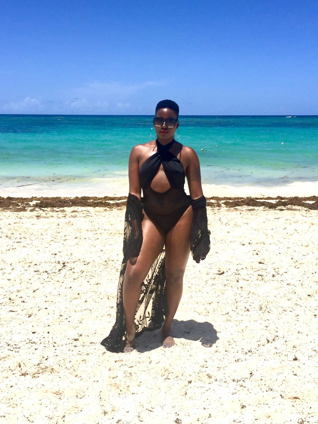 black cut out swimsuit with lace cover up punta cana