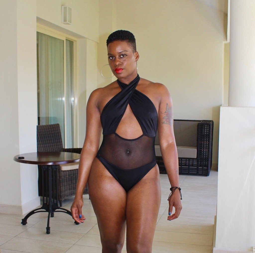 black tie neck sheer swimsuit punta cana