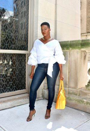 Puffed Sleeve Wrap Blouse Outfit