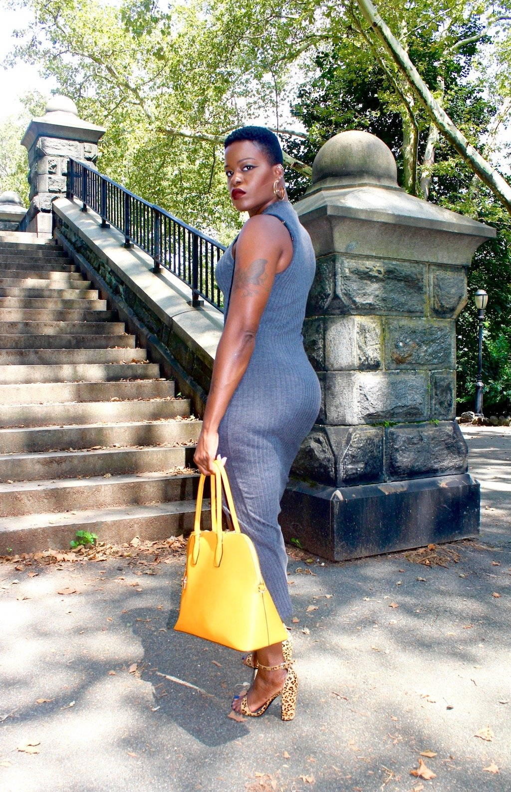 Grey Midi Dress + Yellow Bag + Leopard Pumps Outfit